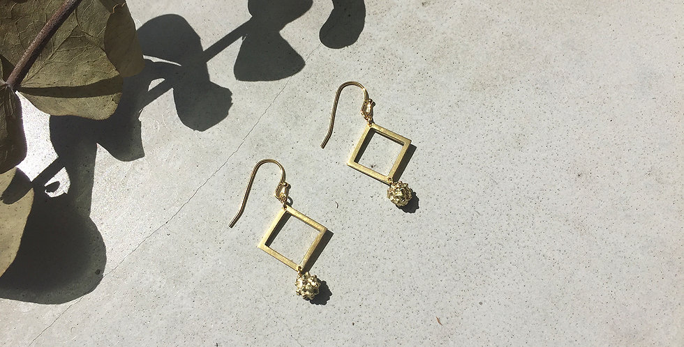 Brass Square Powder Puff  Earrings