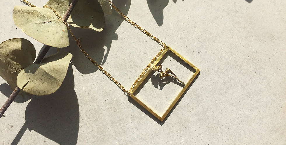 Brass Frame Necklace (5x2.5)