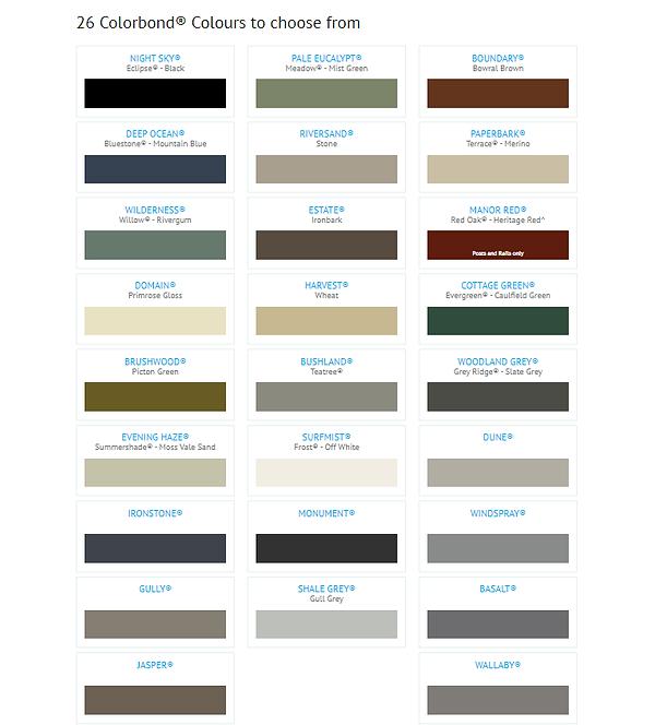 Colorbond fence colour chart