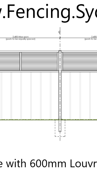architectural Drawing of a ccolorbond fence with louvre inserts 2021 by fencing sydney - C
