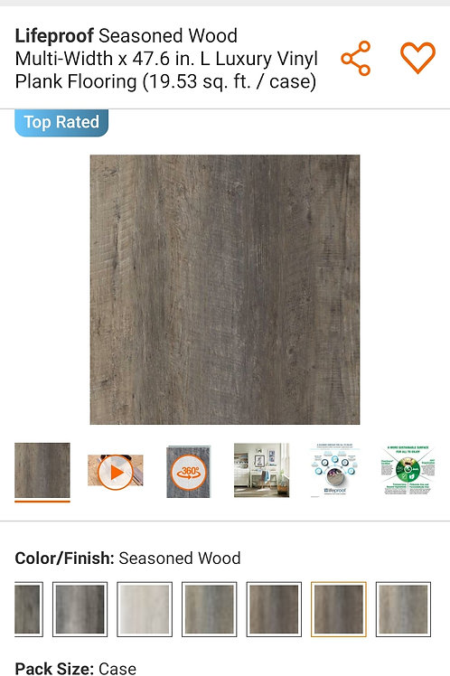 Lifeproof Seasoned Wood Multi-Width x 47.6 in. L Luxury Vinyl Plank Flooring