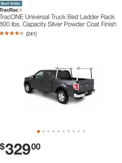 TracONE Universal Truck Bed Ladder Rack 800lb Capacity Silver Powder Coat Finsih