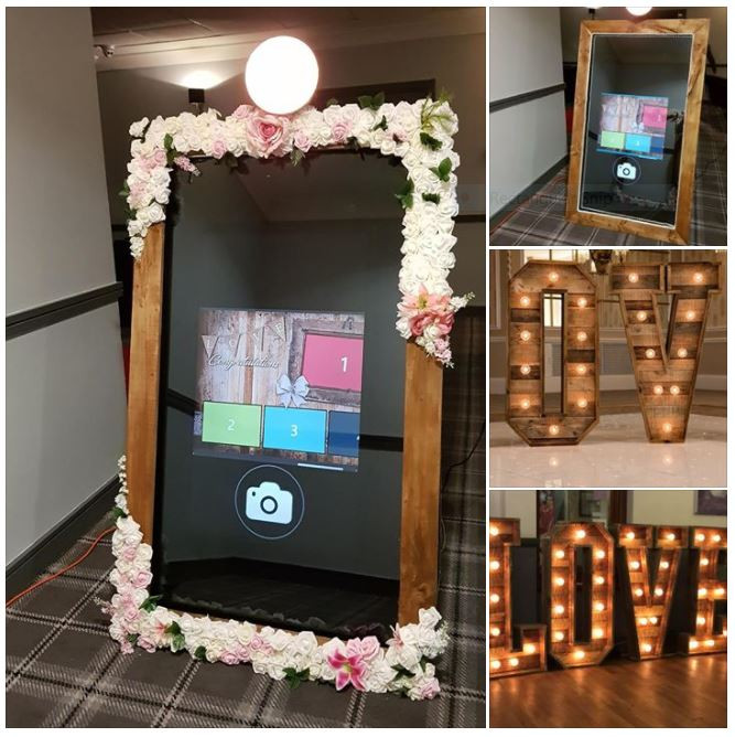 starlit events rustic package mirror and letters