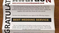 Here we go again Amazing news shortlisted for the second year for Best wedding Service in our region