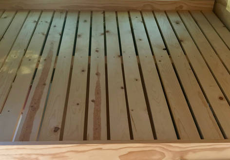 Queen-Sized Bed  w/ Pine Slats
