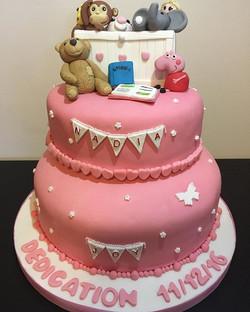 Dedication toy box cake #newcastlecakedecorator #dedicationcake #christeningcake #toyboxcake