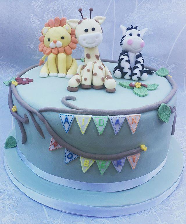 christening cake animals