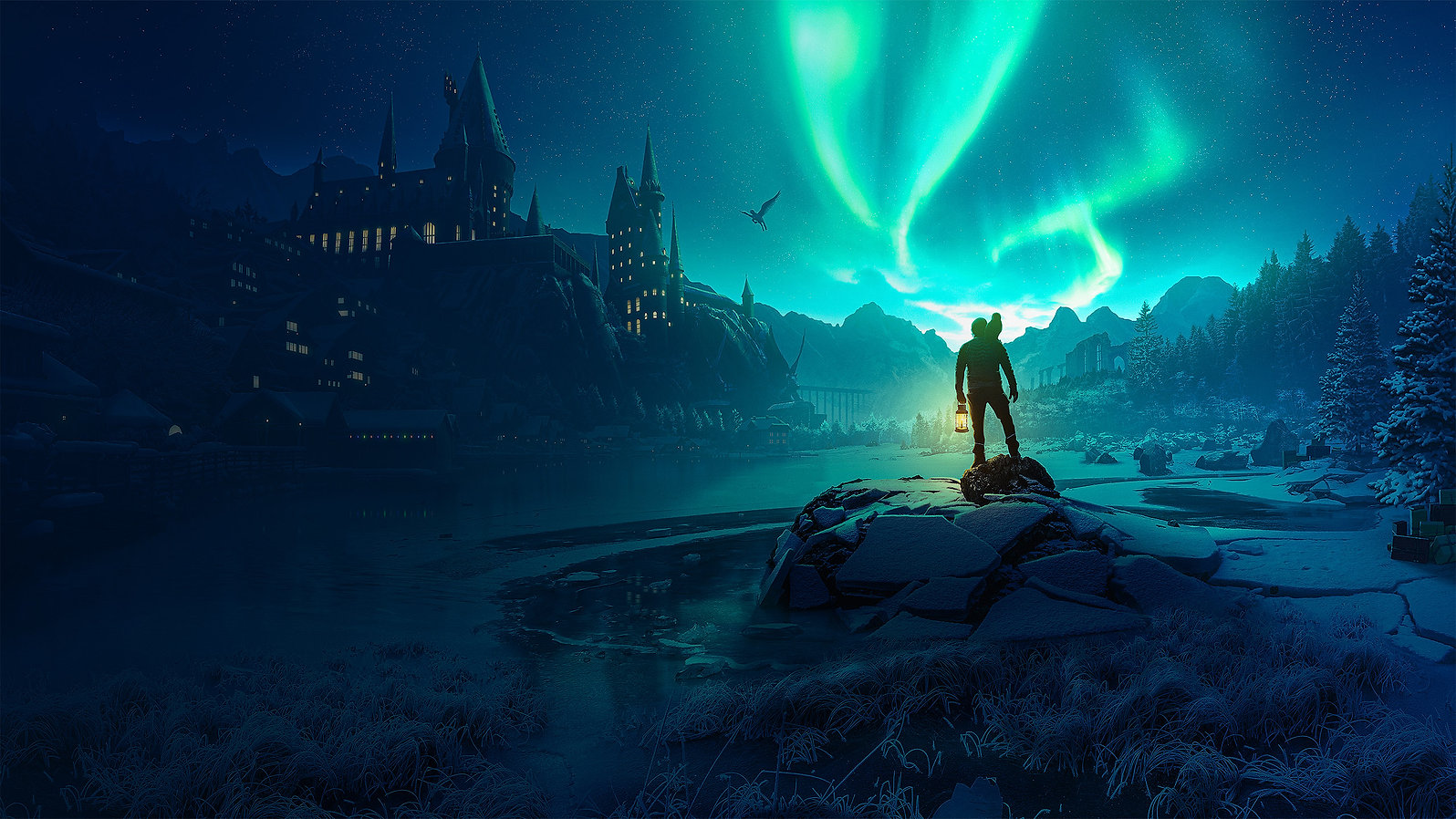 hogwarts harry potter wallpaper with northern lights christmas theme
