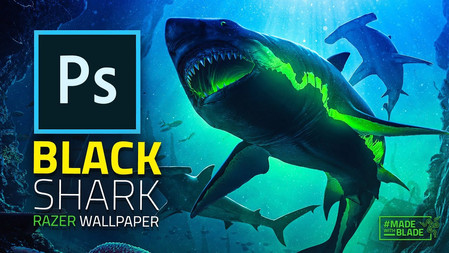 I Made An EPIC Shark Wallpaper For RAZER On The Razer Blade Studio! (Photoshop)
