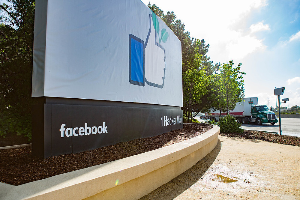Facebook's welcome sign at their headquarters in Palo Alto, California