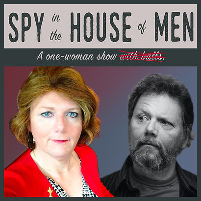 "Production graphic for ""Spy in the House of Men"" with images of Penny before and after transitioning."