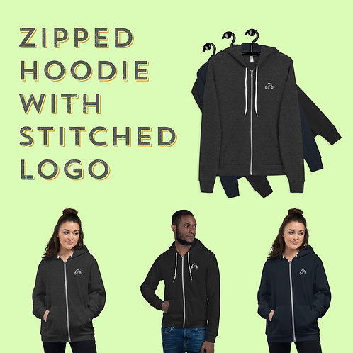 Zipped Hoodie with Stitched Logo