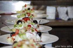 קינוח - פבלובה עם קצפת, פירות העונה ודובדבני אמרנה