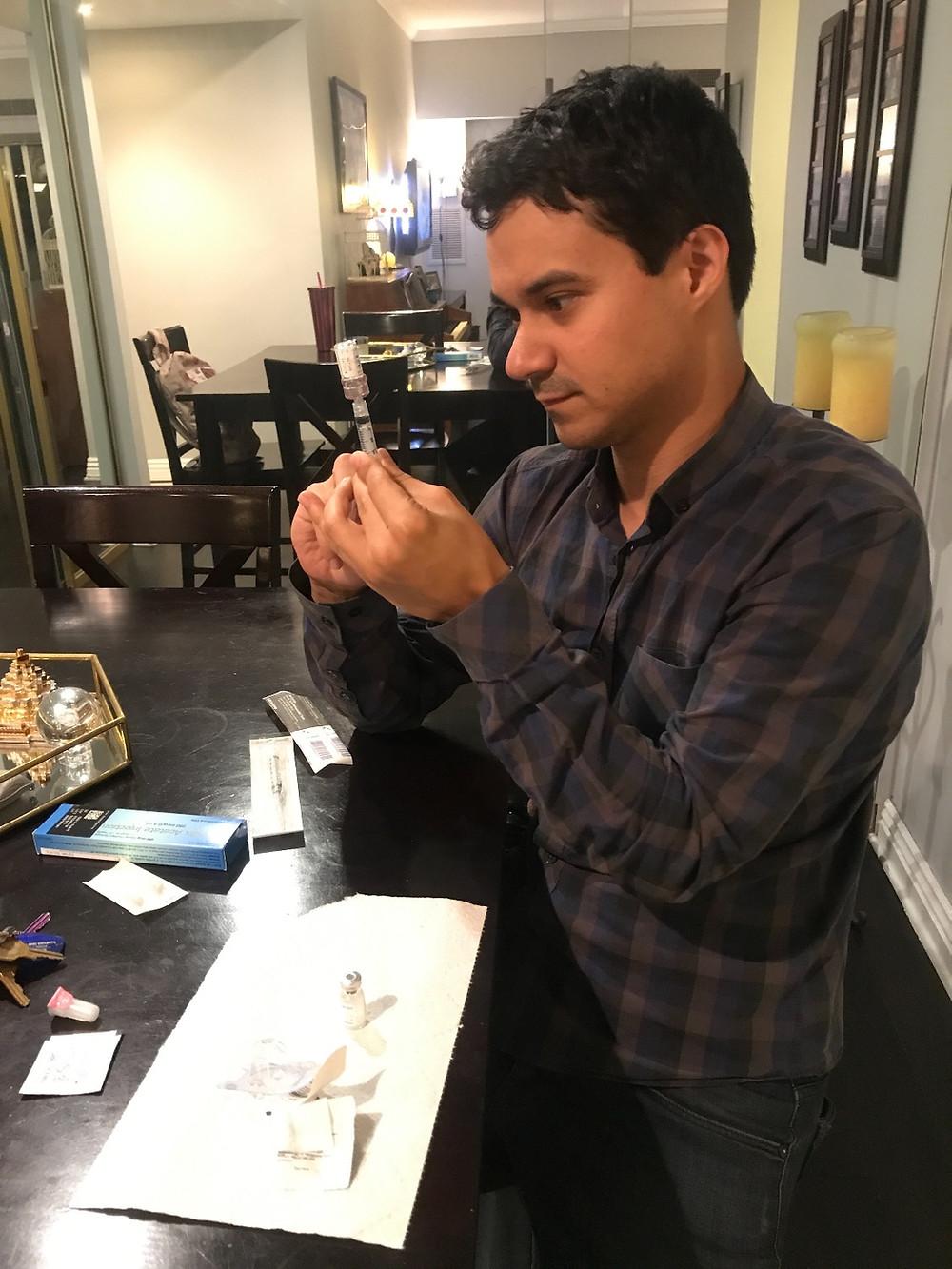 Derek prepping my shots