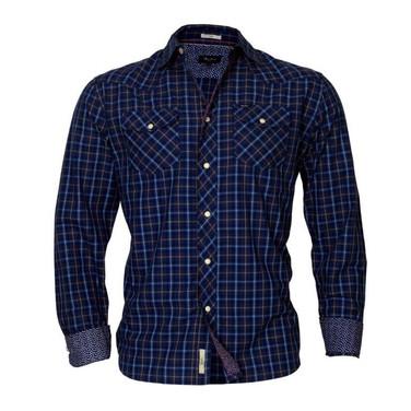 Navy full sleeve checkered shirt