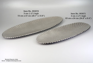 Ribbed Oval Large Flat Platters
