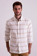 Full sleeve white shirt with stripes