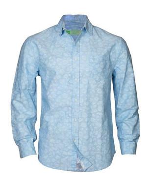 Reverse print blue shirt