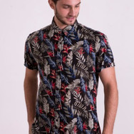 Black half sleeve floral shirt