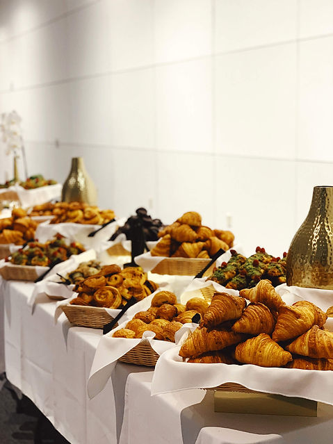 Presentation of catering breakfast with croissant and viennoiserie