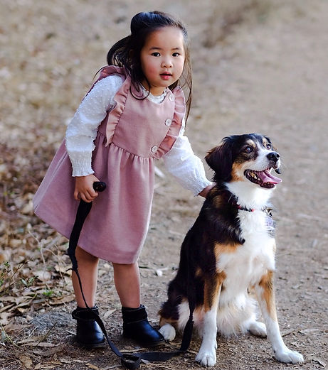 My daughter, Mina, and our dog, Musubi!
