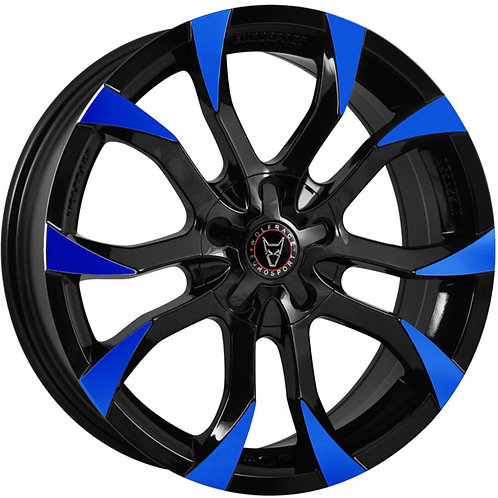 "Wolfrace Eurosport Assassin 18"" Gloss Black/Blue Tips Wheel and Tyre Package"