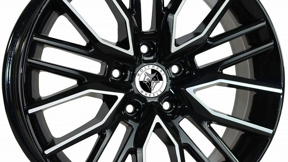 """Wolfhart Vortex 18"""" Gloss Black Polished Wheel and Tyre Package"""