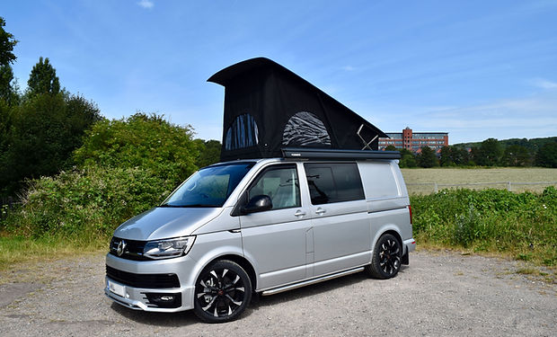 VW t6 hilo sport sleek pop top with a black scenic canvas at Apple County Customs Bristol