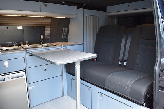 4 berth camper conversion with a RIB bed in VW T6 Simora at Apple County Customs Bristol