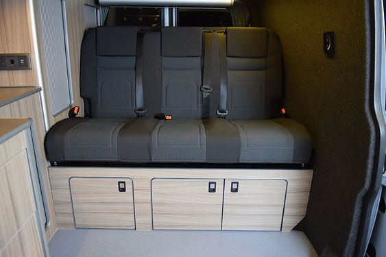 RIB 129cm bed, in VW T6Simora upholstery,with 3 seats