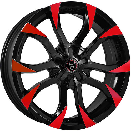 "Wolfrace Eurosport Assassin 18"" Gloss Black/Red Tips Wheel and Tyre Package"