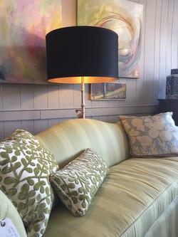 Sofa, Lamps, and Art