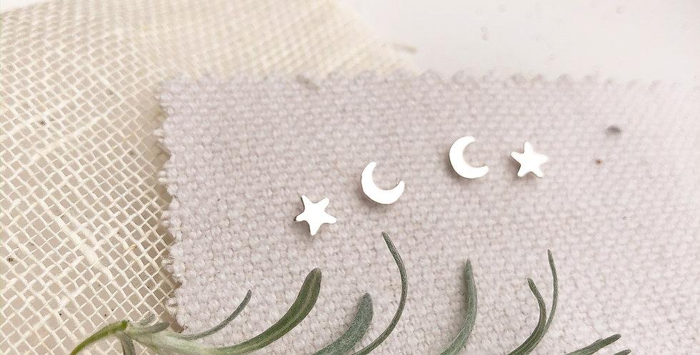 Sterling Silver Celestial Stud Earrings - Mix & Match