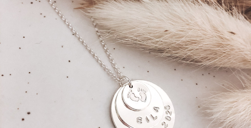 Sterling Silver Hand Stamped Trio Disc Personalised Necklace