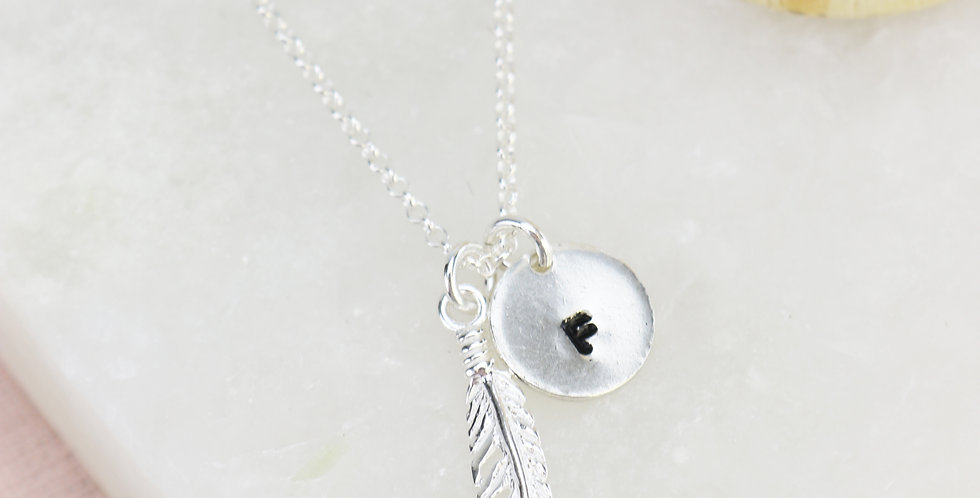 Sterling Silver Feather Necklace With Hand Stamped Disc Option