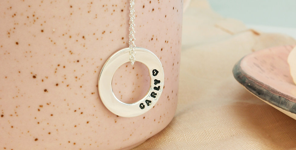 Hand Stamped Washer Name Necklace - Sterling Silver or Gold Filled