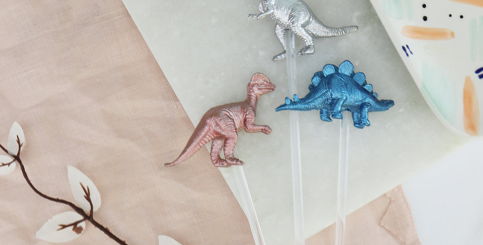 Metallic Dinosaur Drink/Cocktail Stirrers