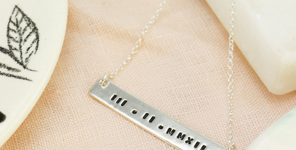 Personalised Bar Necklace - Sterling Silver or Gold - Choose Your Own Text