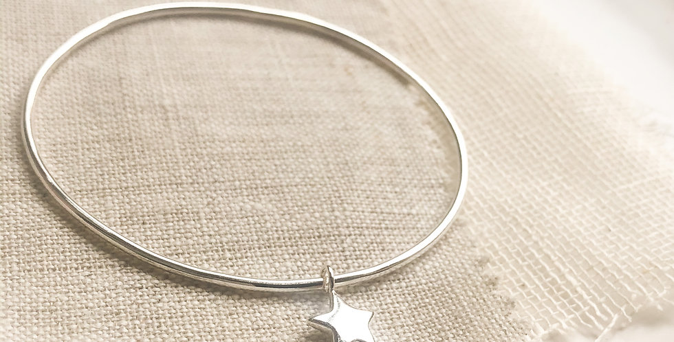 Sterling Silver Puffed Star Charm Bangle