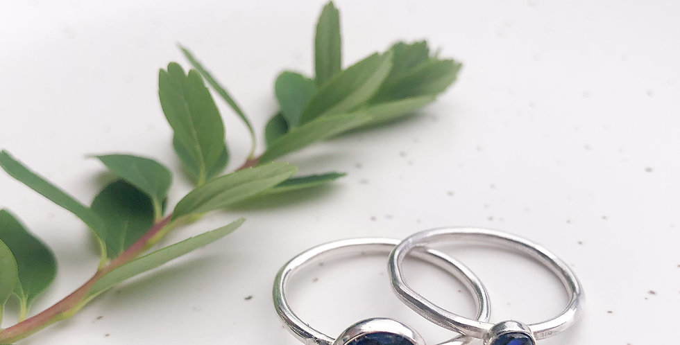 Sterling Silver Blue Abalone Shell Ring