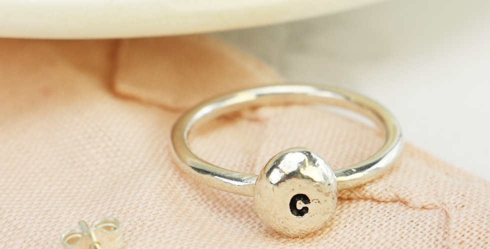 Sterling Silver Solid Pebble Initial Ring