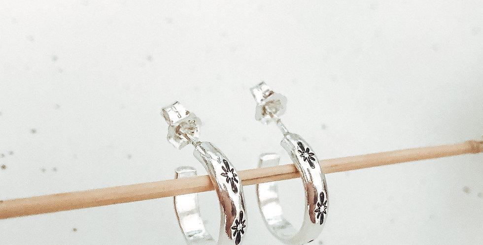 Sterling Silver Hand Stamped Polaris Star Huggie Earrings