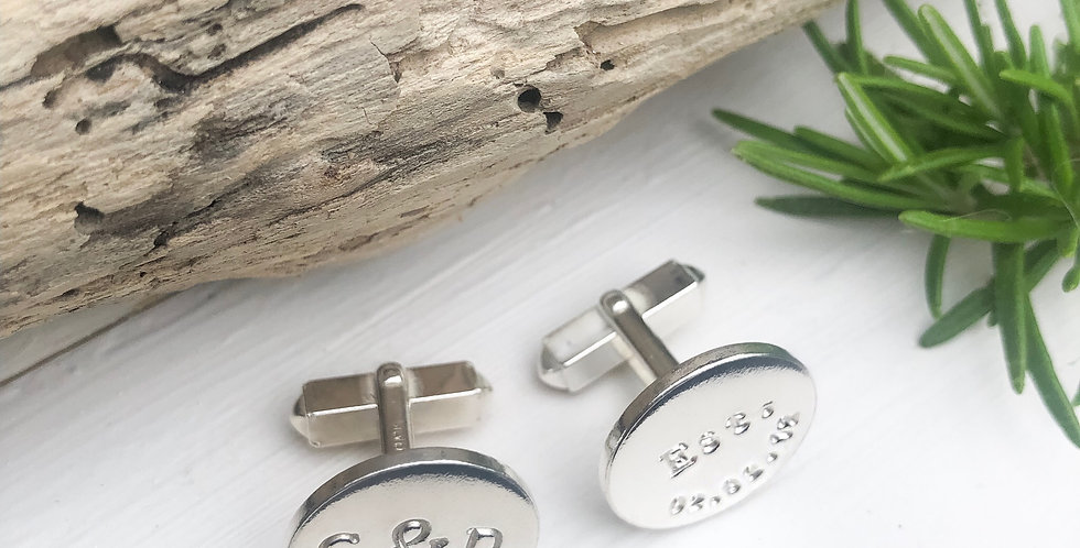 Sterling Silver Personalised 20mm Coin Cufflinks