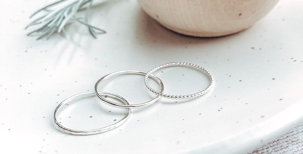 Sterling Silver Skinny Stacking Rings - Plain, Beaded or Hammered