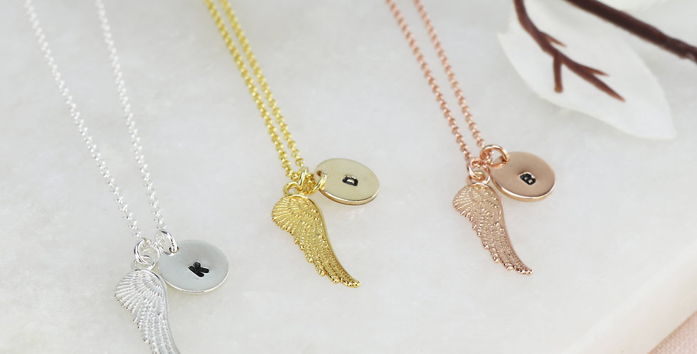 Angel Wing Necklace With Hand Stamped Initial Disc Option