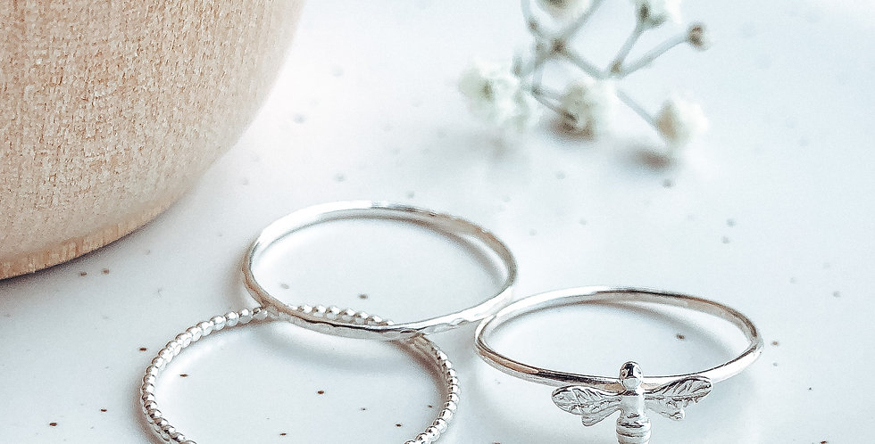 Sterling Silver Honey Bee Stacking Ring Set