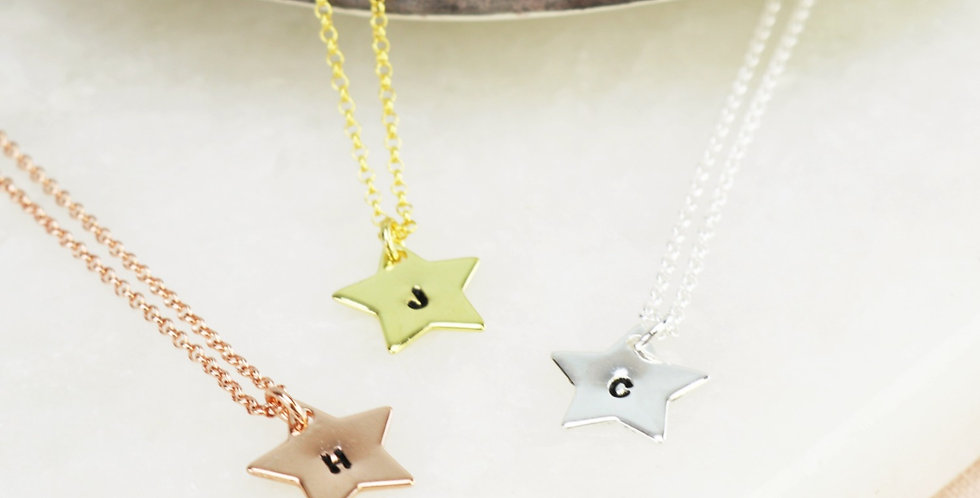 Hand Stamped Star Charm Initial Necklace