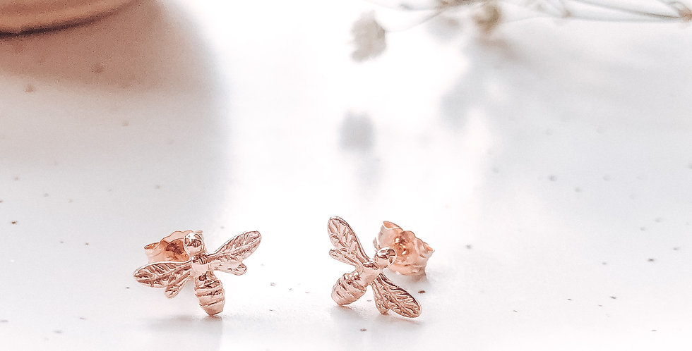 18k Rose Gold Sterling Silver Bee Stud Earrings
