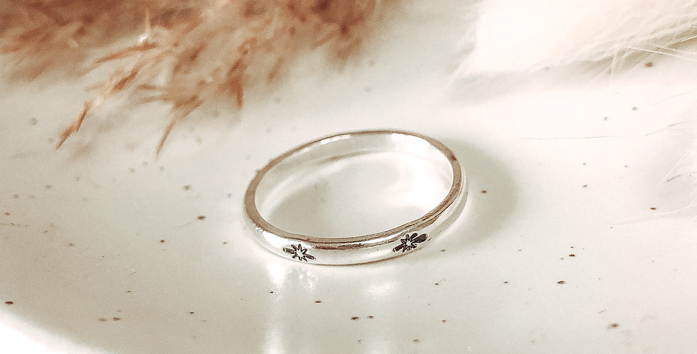 Sterling Silver Hand Stamped Polaris Star Ring