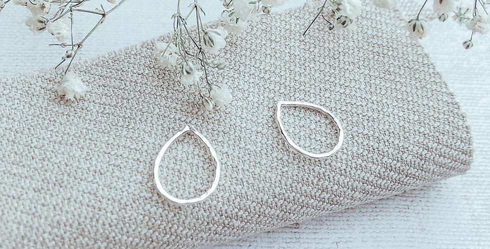 Hammered Sterling Silver Teardrop Stud Earrings